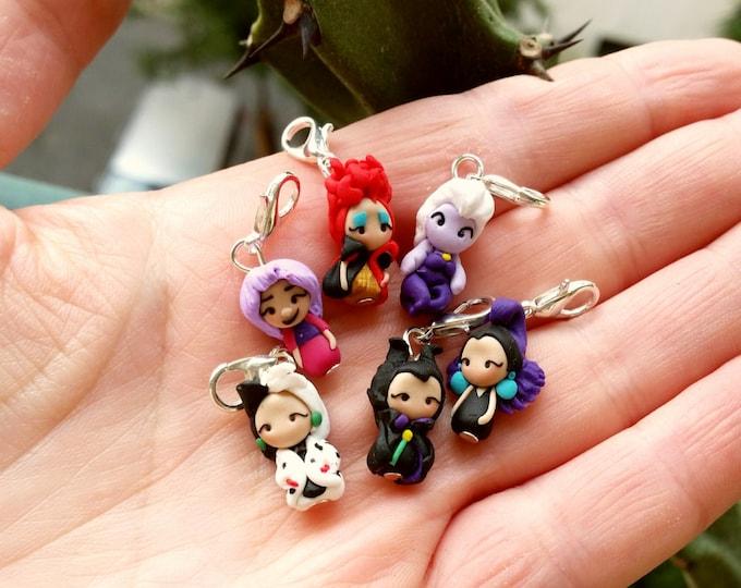 Disney villain charm inspired , clay stich markers, Maleficent,Mad Madame Mim,Cruelle, Red Queen ,Ursula,Yzma,Grimilde,Evil Queen Clay charm