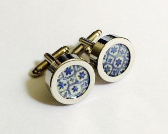 Indian Blue Tile Silver Cufflinks