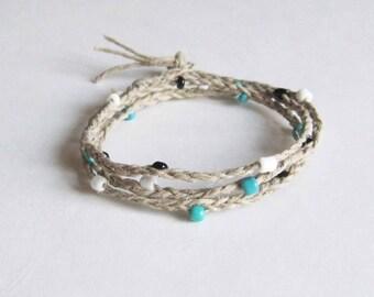 Natural Hemp Bracelet. Men's Bracelet. Women's Bracelet. Wrap Bracelet. Beaded & Braided Bracelet. Friendship Bracelet. Made in Canada. BLT.
