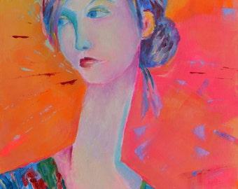 Modigliani Style Woman Painting Portrait of a Woman Modern art Portrait painting Figure art Woman portrait Print Pink Figurative painting