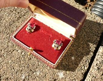 1920s RUBY EARRINGS- HALLMARKED-  Original Box- Yellow Gold