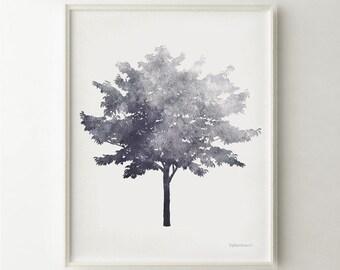 Tree art, Black and white art print, Gray print Modern decor, Nature decor, Gray art print, Tree decor, Home decor PRINTABLE wall art print