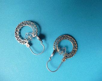 Sterling Silver Filigree Earrings handmade in Mexico.