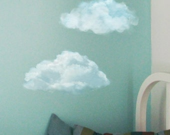 Set of 2 Blue Clouds, Nursery Wall Decals, Not Vinyl, Watercolor Clouds, Clouds Wall Decals , Fabric Stickers Clouds, Sky