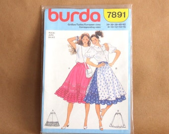 vintage BURDA Pattern 7891, Flared paneled dirndl skirt with ruffled hem, 1980's, Sizes 8 to 16, NEW UNCUT