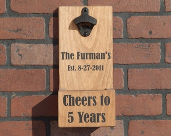Custom Personalized Anniversary Wall Mounted Bottle Opener With Cap Catcher and Easy Removal! Perfect For Your Wedding, Anniversary!