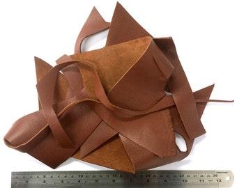 Bookbinding off cuts Craft diy kit Full grain leather scraps Leather scraps Jewellery scraps Leather remnants Cowhide scraps Bag of leather