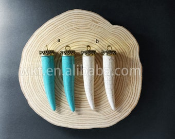 WT-P632 Newest Wholesale Natural tibetan turquoise horn pendant, Boho long tusk horn turquoise pendant for necklace