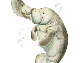 Mom and Baby Manatee, Watercolor Manatee, Manatee, Cute Manatee, Nursery Decor, Nautical Nursery, Watercolor Nursery, Manatee Gift