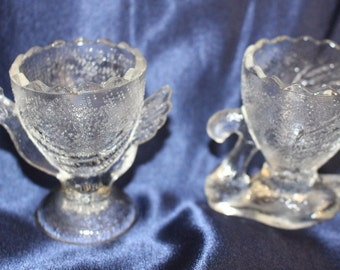 This is a set of two Egg cups Chicken and Swan from the 1950s