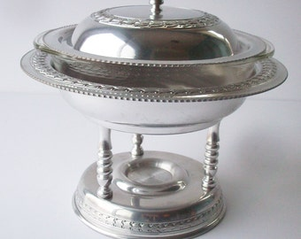 Vintage Aluminium Serving Piece / Detailed Patterned Metal Serving dish with glass insert.