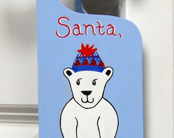 SALE 50% OFF Christmas door hanger, Kids Christmas door sign, Cute Polar Bear sign, Santa Please Stop Here, Christmas door decor
