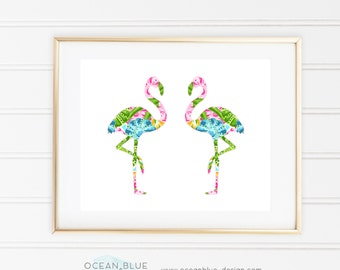 Tropical Palm Beach TWO Flamingos Print - Pulitzer-Inspired Pink, Blue, Green - Glam, Chic - Printable, Instant Download, 8x10, 11x14, 12x16