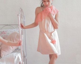 one shoulder blush silk dress - asymmetrical bridesmaid dress - ruffle dress - flower girl dress