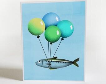 Birthday Card - Fish Balloon Birthday Card - Funny Birthday Card - Happy Birthday - Congratulations Card