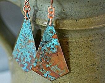 Turquoise earrings - patina earrings - copper earrings - copper jewelry - gypsy earrings - long earrings - geometric earrings - rustic
