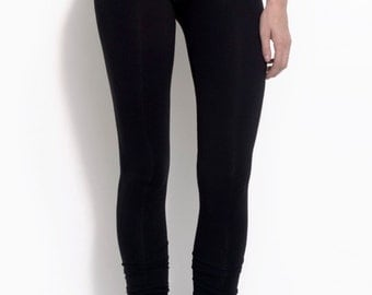 """Ecofriendly bamboo jersey tights made extra long for """"stacked"""" effect at ankle"""