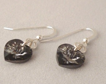 Sterling Silver and Swarovski Xillion Heart Drop Earrings - Crystal Silver Night