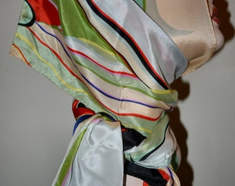Silk Scarf from Museum of Fine Arts Boston Red black Green Cream Turquoise
