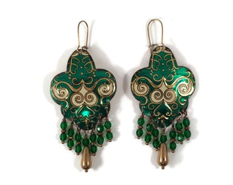 Green Statement Earrings - Boho Gypsy Recycled Tin Earrings with Beaded Fringe in Emerald Green & Gold
