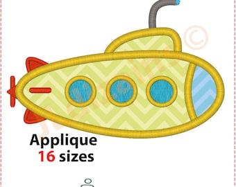 Submarine Applique Design. Submarine embroidery design. Embroidery design submarine. Applique submarine. Nautical. Machine embroidery design