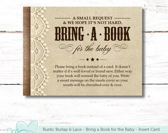 Rustic Burlap and Lace Bring a Book for the Baby Insert Card, Baby Shower Game, Instant Download, Printable, Books for Baby, Boy, Girl, 2F