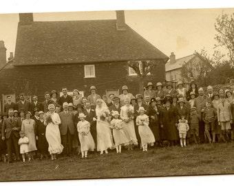 1900s Wedding Group Real Photo Postcard Antique RPPC Vintage Victorian Edwardian Wedding Dress Bride Groom