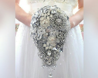 BROOCH BOUQUET. Teardrop cascading waterfall  bouquet with roses style brooches