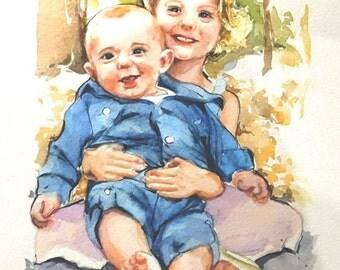 WATERART* Art commissioning, Two people portrait, Custom portrait, Family portrait