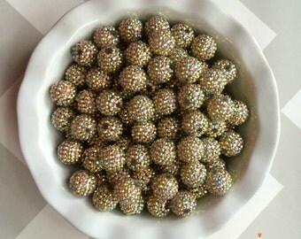 20mm Light Gold AB Rhinestones Chunky Bubble Gum Beads Set of 10