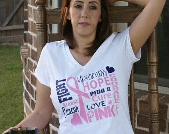 FIGHT BREAST CANCER shirt, Breast Cancer Awareness,Find cure,cancer survivor,Pink ribbon,love,breast cancer,gift ,wife,mother,womens shirt