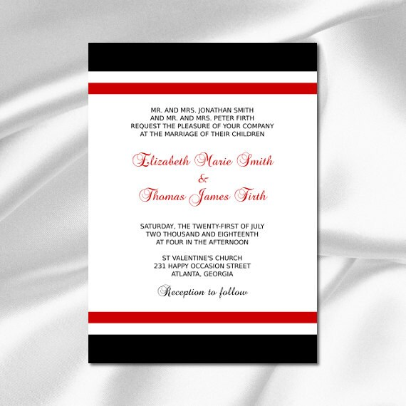 Red And Black Wedding Invitation Template By