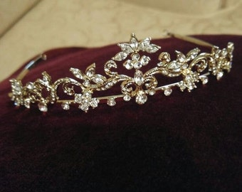 Antique Scroll Goldtone Tiara Bridal Wedding Quinceañera New Vintage Victorian Boho