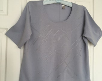 Gray blouse vintage knitwear scooped neck short sleeves  loose fit casual top Plus size 3X
