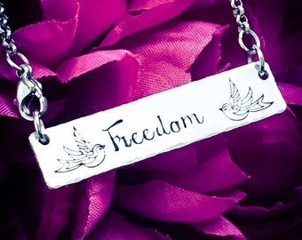 Freedom & Swallows Hand Stamped Necklace. Swallow Necklace, Swallow Jewellery, Inspirational Necklace, Freedom Necklace, Freedom Jewellery