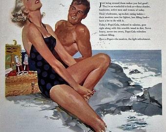 1956 Pepsi Cola Vintage Advertisement Kitchen Wall Art Man Cave Decor Beach House Wall Hanging Original Magazine Print Ad Summer Ephemera