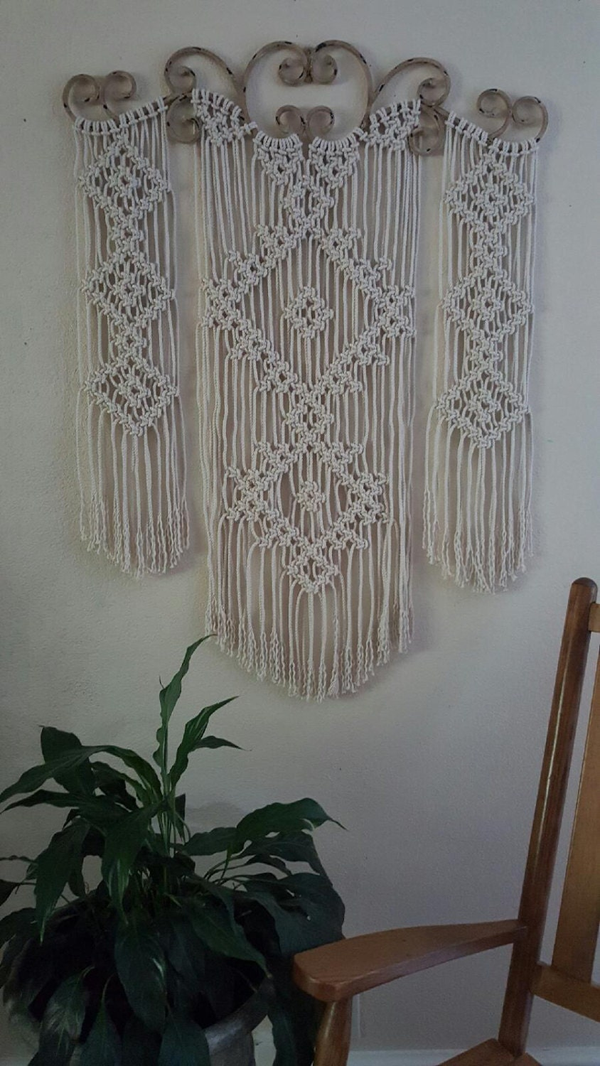 Sale Large Ornamental Iron Macrame Wall Hanging
