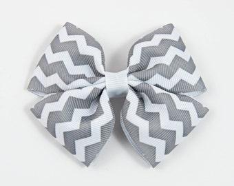 Gray Chevron Hair Bow, Gray and White Hair Bow, Gray Hair Bow, Basic Hair Bow, Double Tuxedo Bow, Gray White Hair Bow (Item #10376)