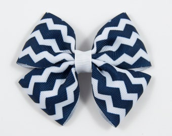 Navy Chevron Hair Bow, Navy and White Hair Bow, Navy Blue Hair Bow, Basic Hair Bow, Double Tuxedo Bow, Navy White Hair Bow (Item #10376)