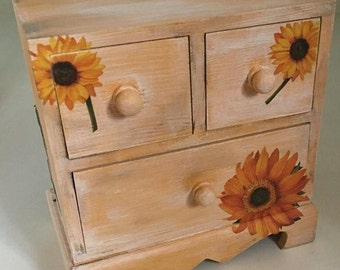 Sunflowers Drawers Jewelry Box. Mini Chest of Drawers. Decoupage Wood Boxes. Keepsake Box-Gift for Mom. Teen Girls Gift-Box-Organizer-Chest