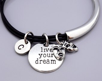Comedy Tragedy masks bracelet, Theatre charm, Greek drama mask, Theatre masks, Broadway mask, Live your dream, Inspire, Leather bracelet