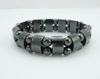 Hematite Magnetic Bead Stretch Bracelet, Hematite Bracelet, Magnetic Bracelet, Handmade