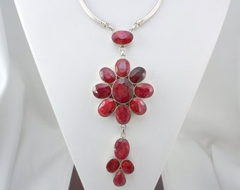 Natural Ruby Pendant Necklace, Ruby Necklace, Genuine Faceted Rubies, Long Necklace, Sterling Silver, Made in India, 925