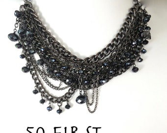 50 FIRST DATES - Martini Inspired Statement Necklace - Multi-layered gun metal chain and multi-faceted black crystals