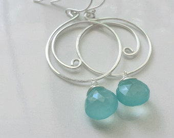 Aqua Chalcedony Earrings, Silver Swirl Earrings, Aqua Chalcedony Jewelry, Sterling Silver Earrings
