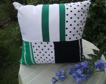 black green white Pillow - Patchworkpillow - homedecor - handmade Pillow - Cottonpillow - Decopillow