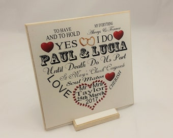 Personalized name plaque, His and Her SIGN, Typography Sign, Gift for couples, Special Date,Date of Wedding,B054