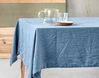 Washed Linen Tablecloth In Petrol Blue / Handmade Linen Tablecloth