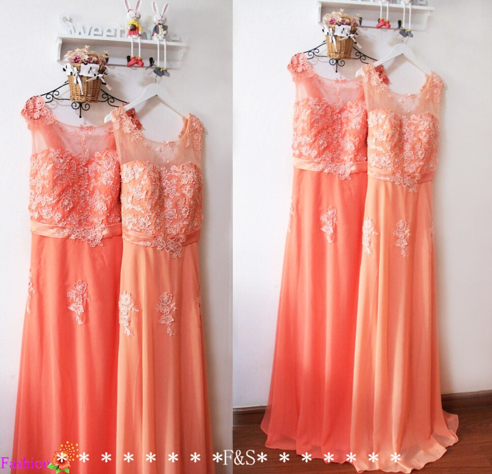 Plus size bridesmaid dresssexy plus size peach lace evening for Coral colored wedding dresses