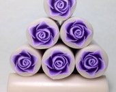 Purple 3D Rose Cane, Raw Unbaked Cane, Polymer Clay Cane, Millefiori Cane, Flower Cane, Floral raw cane.